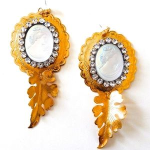 PONDEROSA MOONDUST CAMEO CONCHO EARRINGS NEW